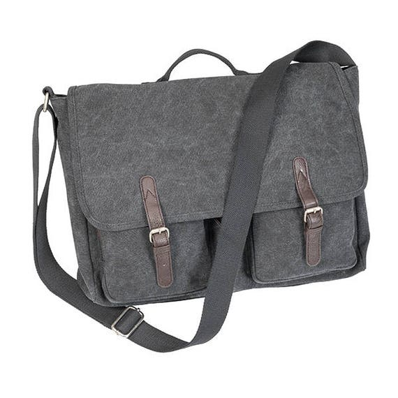 Washed Canvas Messenger Bag in Steele Grey