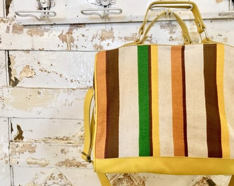 Cotton and leather striped top box bag