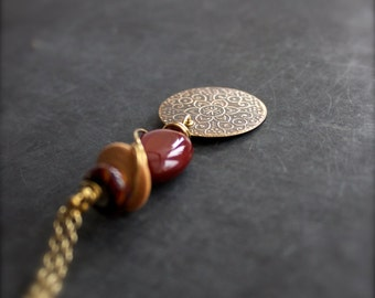 Etched Brass Mehndi Pendant Necklace - Beaded Wire Wrap Rust Red Mustard Rustic Boho Glass Aria Jewelry