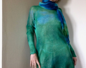 green linen tunic, knitted flax blouse, unique women oversized sweater, ombre linen shirt, one size jumper, artsy pullover OOAK 254