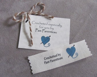 Clothing labels, Crochet Labels, Name labels with Yarn heart