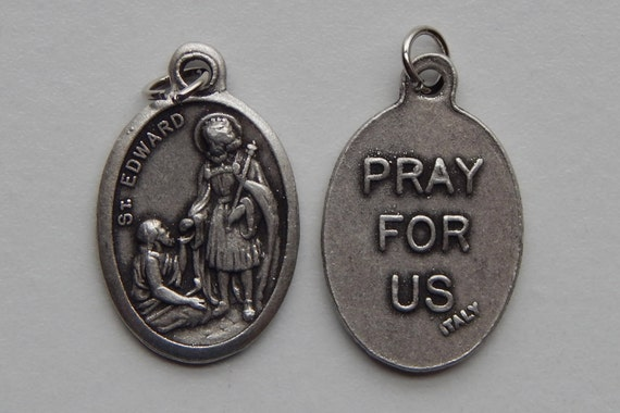 5 Patron Saint Medal Findings - St. Edward, Die Cast Silverplate, Silver Color, Oxidized Metal, Made in Italy, Charm, Drop