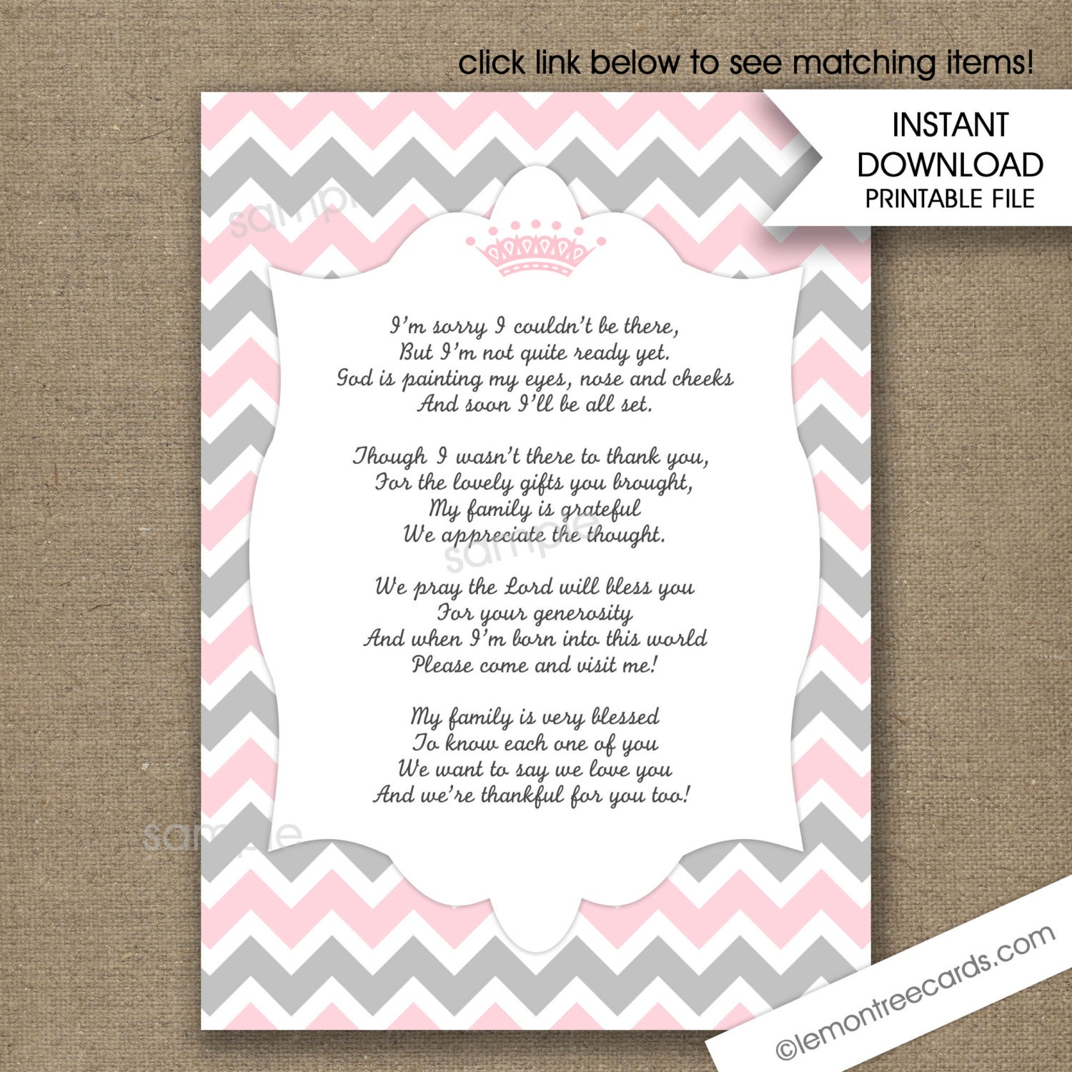 Pink Princess Crown Baby Shower Thank You Poem Notes / INSTANT