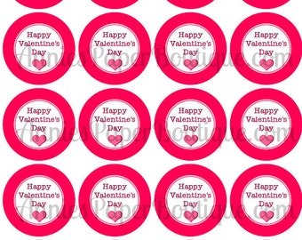 """Happy Valentine's Day Print & Punch Tags, 2"""" Round Tags, Valentine - Printables, Digital Download - Use for Treats, Favors, School, Gifts"""