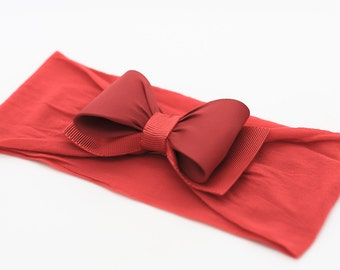 Red Baby Headband, Baby Bow Headband, Newborn Headband, Red Bow Headband, Photography Prop, Red Baby Bow, Red Girls Headband, 977