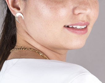 Large Upside Down Horn Gold Post Stud Earrings In 14K Gold Filled OR Sterling Silver, Gold Horn Earrings, Crescent Moon Gold Earrings