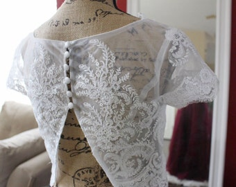Bridal top / lace top / wedding top / sheer lace top / bridal cover / open back top