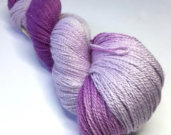 Hand-dyed Laceweight Yarn, 100g, BFL/Silk, colour Purple Lurple