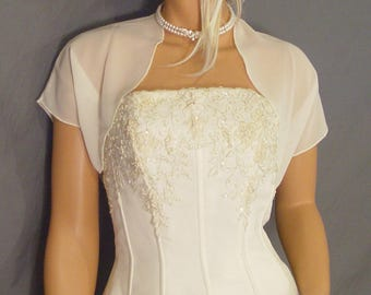 Chiffon bolero jacket bridal shrug short sleeve wedding wrap cover up CBA200 AVAILABLE IN ivory and 6 other colors. Small - Plus size!