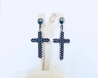Crosses Rock Star Black and silver filigree cross earrings, love for Italy Sardinian button tradition, cross pendant earrings