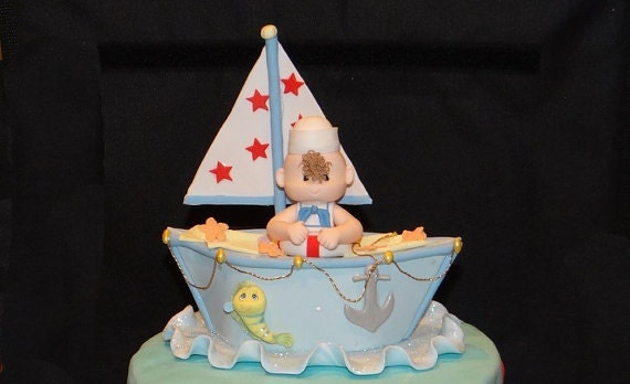 Nautical Cake Topper, Sailor Baby Shower, Sailor Cake Toppers, Nautical  Baby Shower, Nautical Birthday, Nautical Party Decoration, Blue Boat