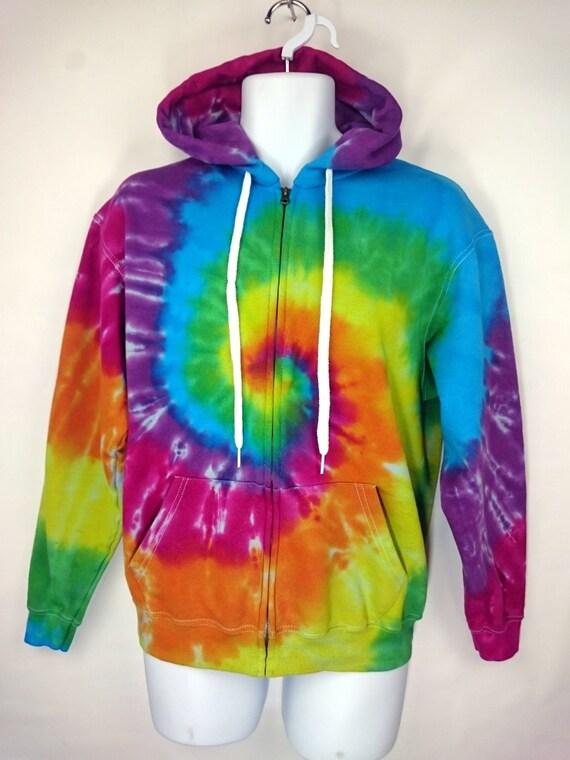 Women's Blue Rainbow Tie Dye Hoodie, S M L XL 2XL 3XL, Adult Pullover Sweatshirt, Hippie Hoodie, Festival Sweatshirt, Tie Dye