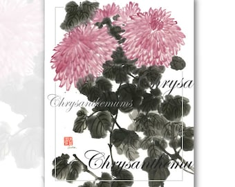 Chrysanthemums - Watercolor Brush Painting with Calligraphy