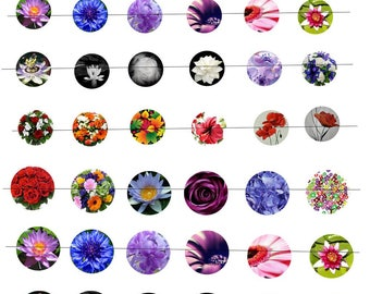 """Digital images """"No. 2"""" round flowers 20 and 25mm"""