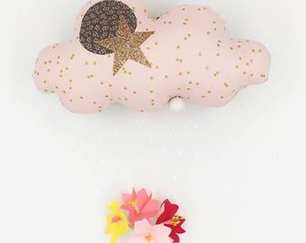Mobile Musical Nuage Rose Pâle à pois doré - Lin Or - Boite à musique - Une étoile dans ma cabane