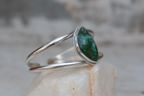 RARE CHRYSOCOLLA BANGLE - Adjustable - 925 Sterling silver bangle - Turquoise - Chakra - Navajo - Native American - Vintage - Antique