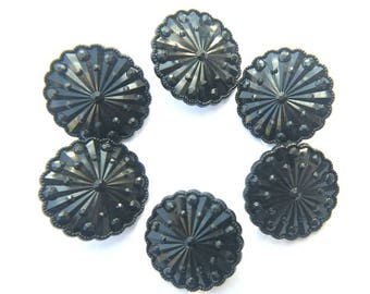 Vintage, 6 plastic buttons, 26mm,  flower shape,  black
