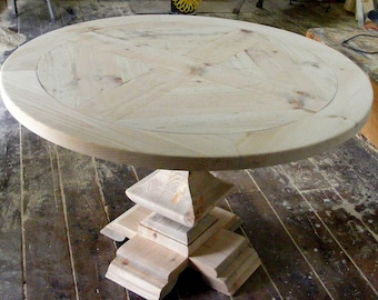 Charming Round Dining Table Parquet Top With Handcarved Square Pedestal Table  Unfinished