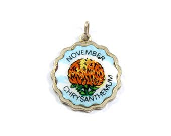 Vintage sterling silver November Chrystanthemum pendant, silver charm, November birthday, enamel charm, orange flower, flower pendant