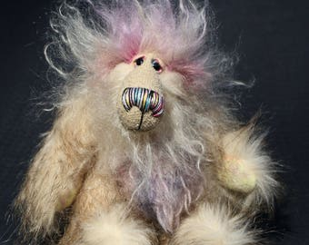 Sammy Snuggles is a very sweet and happy one of a kind artist bear made from faux fur and hand dyed mohair by Barbara Ann Bears