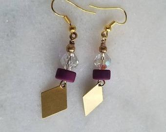 destash Purple Crystal Earrings, Gold Brass Dangles