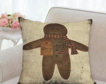Ginger Bread Man Christmas Pillow
