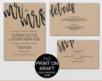 Rustic Wedding Invitation Template, Mr and Mrs Wedding Invitation Suite, Wedding Template Invite Set, PDF Instant Download | VRD110HDK