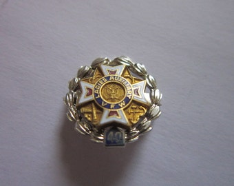 Antique Sterling Silver & Enameled Ladies Auxiliary VFW Pinback