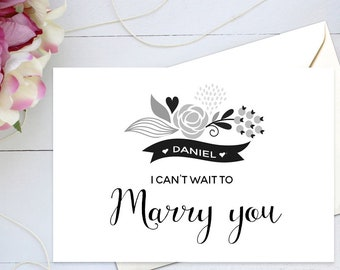 Personalised I Can't Wait To Marry You Wedding Day Cards - Wedding Party Cards from the Bride to the Groom - Handwritten Calligraphy Script