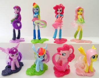 MLP My Little Pony Equestria Girls Cake Topper 8 Figures Set Birthday Party Cupcakes Figurines Supplies