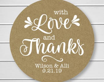Love is Sweet Wedding Stickers, Rustic Wedding Seals, Wedding Stickers, Kraft Wedding Stickers (#213-KR-WT)