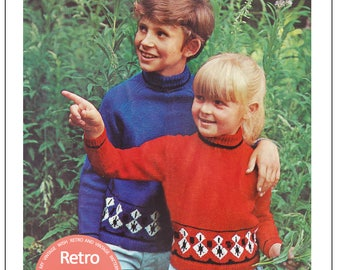 Childs Fair Isle 1970s Vintage Knitting Pattern – PDF Knitting Pattern - Instant Download