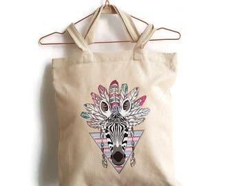 Bag with cheerfully coloured zebra print, shopper of linen cotton fabric with cheerfully coloured animal print, festivaltas with zebra print.