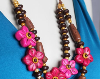 Pink Flower Necklace / Polymer Clay Flower Necklace /  Woodland Inspired / Pink and Brown Floral Necklace / Handmade One of a Kind