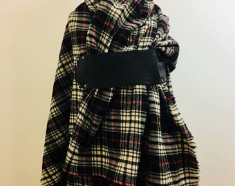 sale Plaid Blanket Scarf,  wool wrap, Winter Sale,  black leather, winter accessories ,  gifts for her, Winter scarves