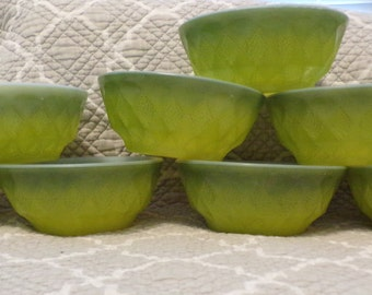 Set of 8 Anchor Hocking Fire King Kimberly Diamond Pattern Green Cereal/Soup Bowls