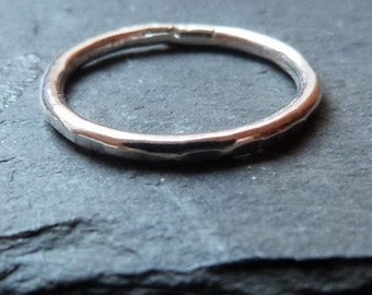 Sterling silver stacking ring - hammered band - 1.8mm - plain silver ring - stacking ring - gift for her - uk
