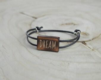 Bracelet Rectangle Bois Récupéré et Argent - Dream