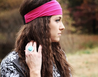Stretchy Headband / Stretchy Head Band / Stretch / Pink Hairband / Pink Hair Band / Boho Headband / Solid Color Colored / Basic Headband