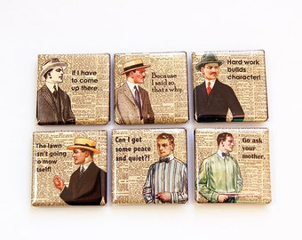 Magnet set for Dad, Magnets, Fridge Magnets, Kitchen Magnets, Square Magnets, Fathers Day, button magnets, humor, funny saying (4587)