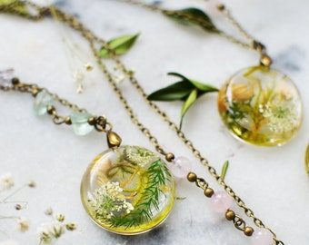 Terrarium jewelry Moss necklace fern jewelry Eco resin jewelry Gift under 40