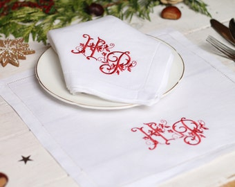 Vintage Monogram Wedding Napkins - Linen Napkin, Custom Cloth Napkins, Linen Hemstitch Napkins, 2nd Wedding Annivesary, Christmas Napkin