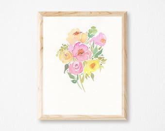 Pink Watercolor Bouquet - Floral Bouquet Art - Floral Modern Art - Botanical Wall Art - Floral Print - Gift for Her - Housewarming Gift