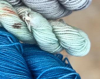 Hand dyed yarn,Mitten/Fingerless Mitt Kit #5,Indie Dyed Yarn,gift for yarn lovers,50 gram Mini Skeins,Mitten/Mitt kit - pattern not included