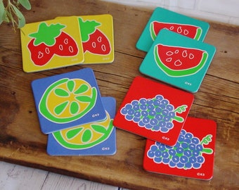 Vintage Drink Coasters, Set of 8, Unused, Abstract Fruit Design,1980's, Bright Colorful, Coasters for Drinks, Vintage Barware, Patio Decor
