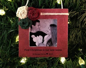 Personalized christmas ornament new home housewarming gift first home picture frame