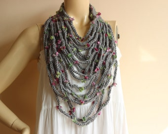 Grey Infinity Scarf -Grey Crochet Necklace-Chain crochet scarf with Flowers
