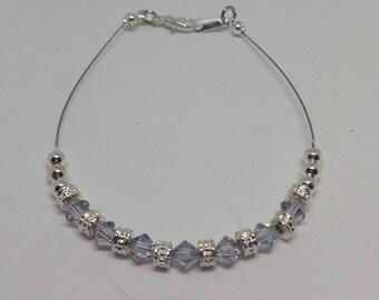 Swarovski Crystal Smoky Mauve (Pale Lilac-Gray) Anklet