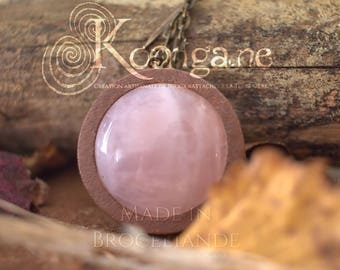 Pink Quartz Amulet or talisman - Leaf on the back - Autmnal forest colours - Wood - Copper Wire Wrapping Gemstone