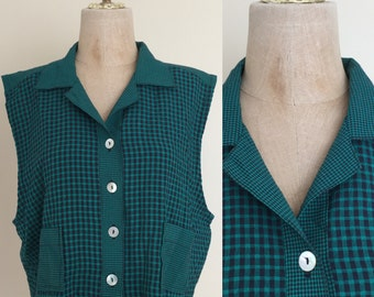 1990's Green Gingham Cropped Top Size Large XL by Maeberry Vintage